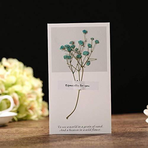 N-B 8.5 * 15cm Flores secas + Tarjeta de Papel Los Mejores Deseos Tipo Plegable Tarjetas...
