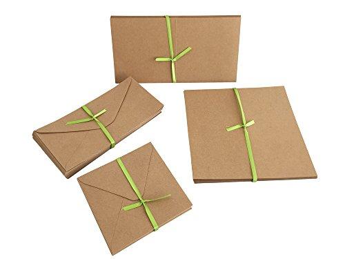 Juego de 50 sobres y 50 tarjetas plegables, cartulina natural, en diseño cuadrado y DIN...