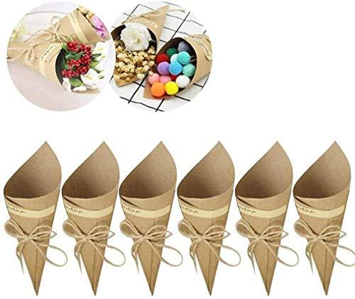 50 Conos de Papel Kraft + 50 Cuerdas + 50 Pegatinas Paquetes para Caramelos, Arroz, Cajas...