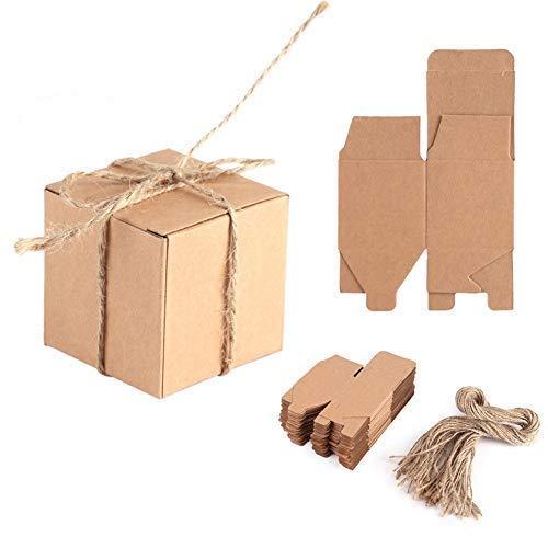 Cajas De Dulces 50pcs Papel Kraft Cuerda De CáñAmo Material Caja De Papel Kraft con Una...
