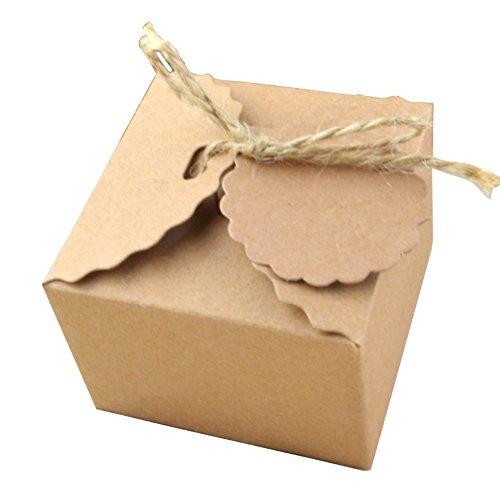 50 Piezas Papel Kraft Caja de Regalo Dulces Regalos Cajas Para el Presente del Banquete de...