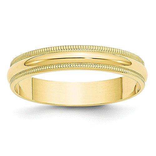 DIAMOND2DEAL INC Alianza de Boda de Oro Amarillo de 10 Quilates de 4 mm LTW Milgrain,...