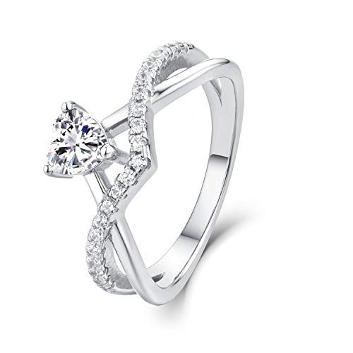 Starchenie Anillos Mujer Plata de ley 925 Anillos Compromiso Corazón Aniversario Anillos...