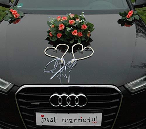 Auténtica rosa para el coche, decoración para el coche, novia, pareja de rosas, palomas,...