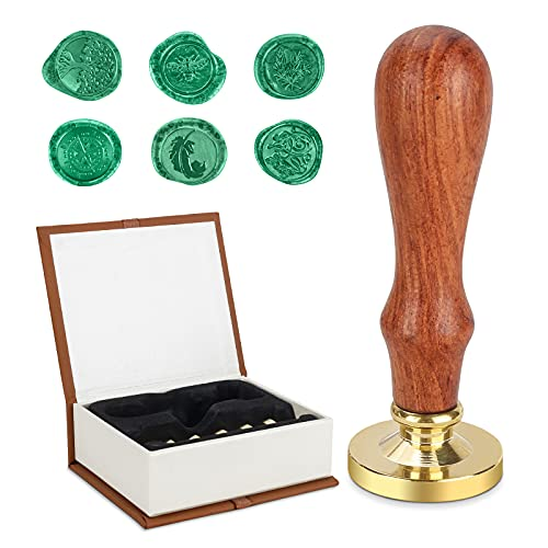 Juego de sellos de cera, MOPOIN sellos de cera 6 cabezas de latón y 1 mango de madera,...