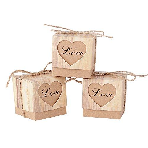 AONER 100Pcs (5 * 5 * 5 cm) Cajas de Regalo Papel Kraft Cajitas con Corazón Love...