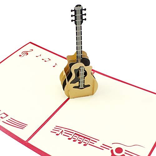 Tarjeta de cumpleaños 3D desplegable con guitarra Dylan-EUE, tarjeta de felicitación 3D,...