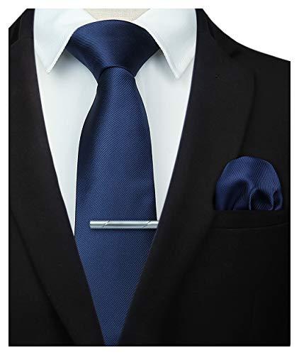 HISDERN Panuelo de corbata azul marino liso para hombre Fiesta de bodas Clasico corbata y...