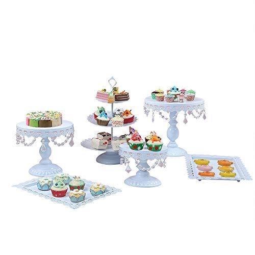 Berkalash Soporte de pastel, juego de 6 piezas de soporte de pastel de cristal, soporte de...