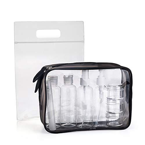 MOCOCITO Neceser Transparente con 8 Botellas de Viaje (MAX.100ml) y 1 Bolsa de Vuelo para...