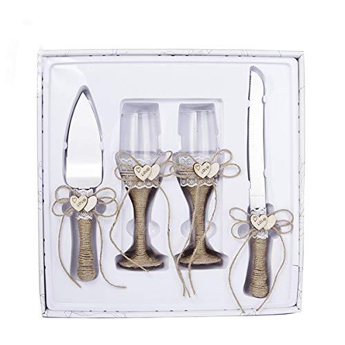 4 piezas suministros de boda – cuchillo para tartas, juego de servir pastel y copas de...