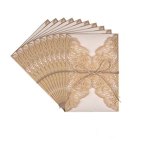 Tarjetas de Invitaciones,10 Pack Vintage Tarjeta de Invitación de Boda Set Incluir Retro...