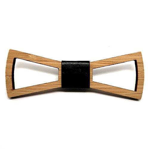 BOBIJOO Jewelry - Pajarita Madera bambú Hombre Elegante rectángulo de diseño Cuero...