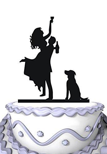 Max345Gall Decoración para tarta de boda con silueta de perro y novia borracha.