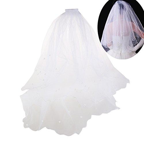 ULTNICE Velo de la venda de la corona 80CM Velo nupcial de la perla nupcial de la boda de...