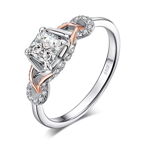 JewelryPalace Infinito Anillo Plata Mujer Zirconia Cúbica, Anillos de Compromiso Plata de...