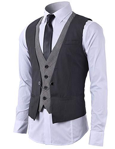 STTLZMC Hombre Chaleco de Traje Blazers Waistcoat sin Manga 2in1 Formal Boda...