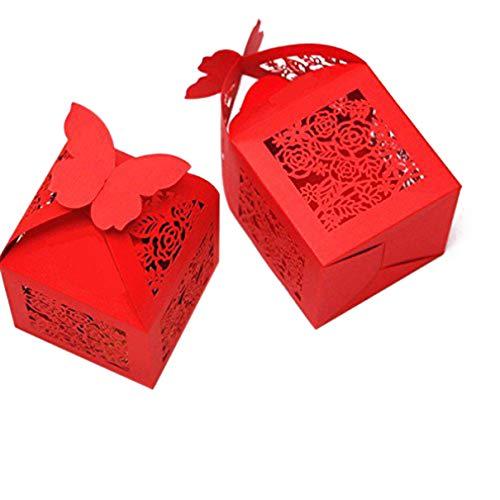 ULTNICE 50 cajas de regalo con diseño de rosa, caja de bombones con cinta para bodas,...
