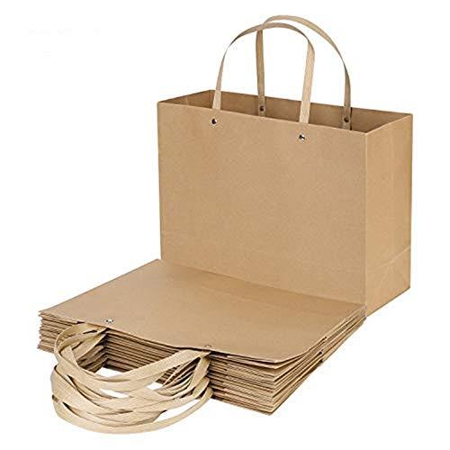 Lote de 10 bolsas de regalo grandes embalajes de papel kraft reciclado con asas, bolsas de...