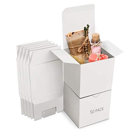 Belle Vous Cajas de Cartón Kraft Blancas (Pack de 50) – Medidas de las Cajas 7,5 x 7,5...