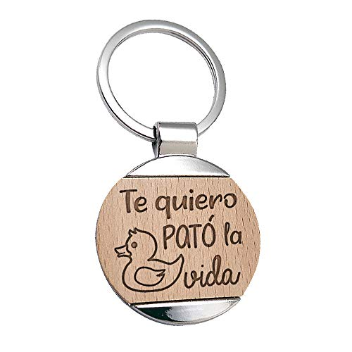 Llavero Te Quiero Pato La Vida Grabado en Madera - Llavero Frase De Amor para Enamorados -...
