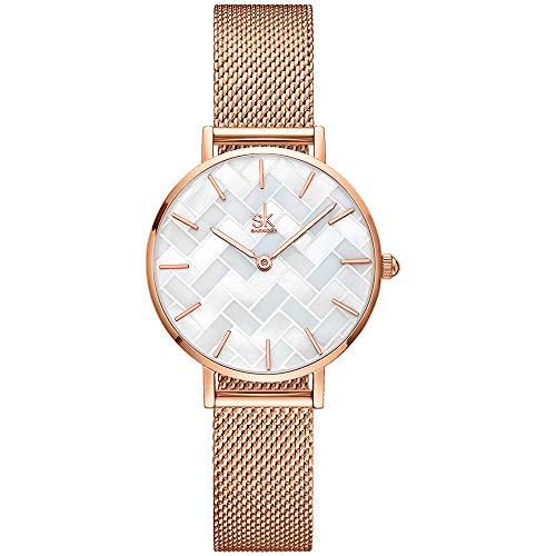 SHENGKE Estrella Reloj de Pulsera para Mujer, Correa de Malla, Elegante, para Mujer,...