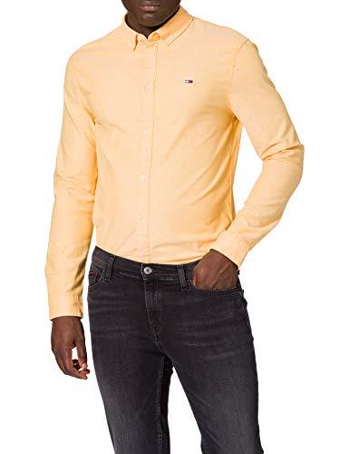 Tommy Hilfiger TJM Slim Stretch Oxford Shirt Camisa, Naranja (Florida Orange), XS para...