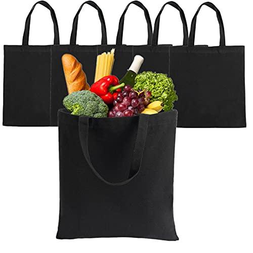 LONGBLE 5 bolsas de yute negro para la compra, grandes bolsas de algodón con asas, lona...