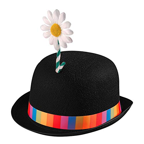 WIDMANN 25101 - Sombrero de payaso para adultos, multicolor, con flor, melón de fieltro,...