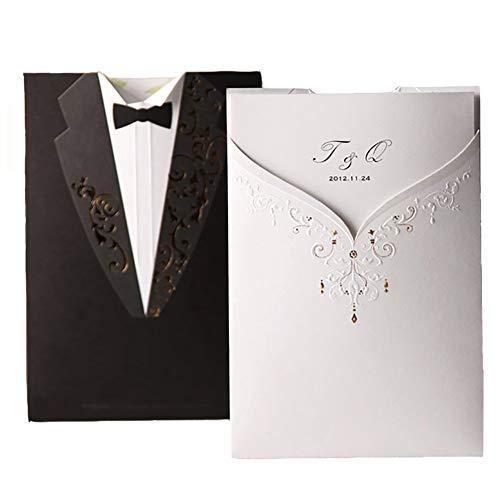 Wishmade Invitación de boda Kits 50 juegos blanco y negro vestido de noche de compromiso...