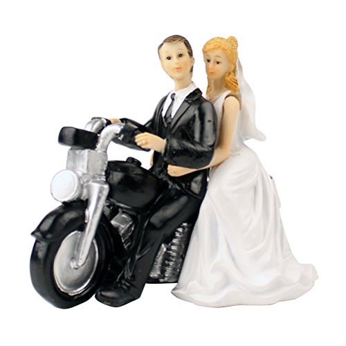 OULII Figura de pareja de novios como decoración para tarta de boda en moto