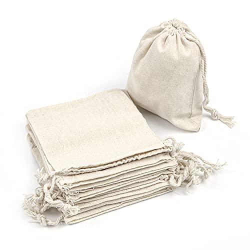 RUBY - 48 Bolsas de algodón con cordón Ajustable, Bolsa de Regalo, Bolsas de Tela...