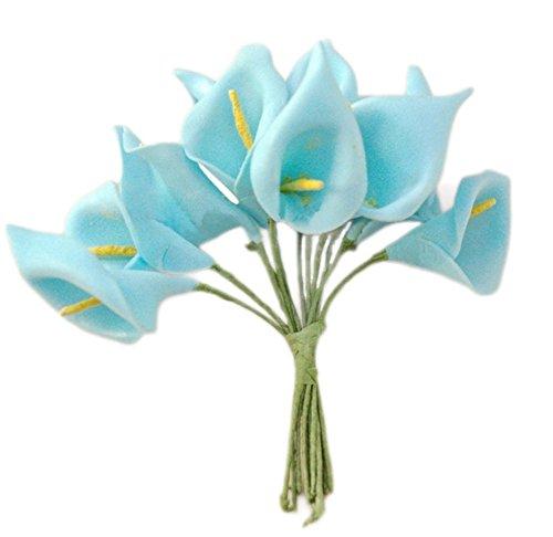 144 ramos de flores de novia pequeños, hechos a mano. Flores cala, color rojo, PE, azul,...