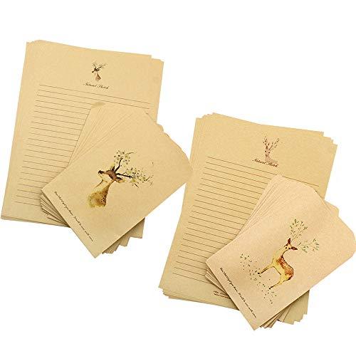 Baven Sobres de Papel Kraft Papel Kraft Marrón Vintage Sobres y Papel de Carta con...