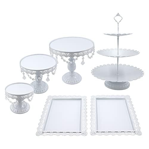 Snowtaros - 6 soportes redondos de metal para tartas y postres, con cuentas de cristal, 3...