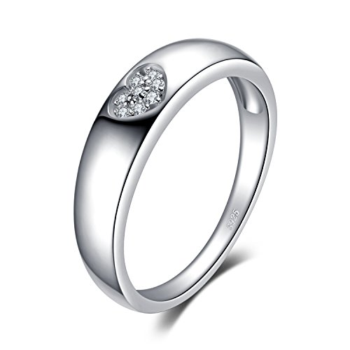JewelryPalace Amor Corazón Anillos Mujer Plata Diamante Simulado, Anillos de Compromiso...