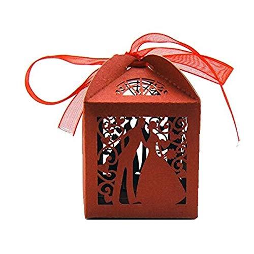 HEALLILY 100 cajas de regalo de boda con diseño de pareja de lujo, hueco, corte Lase para...