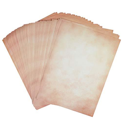 QLOUNI 50pcs A4 Papel de Carta Vintage en Ambos Lados Diseño Ideal para Certificados,...