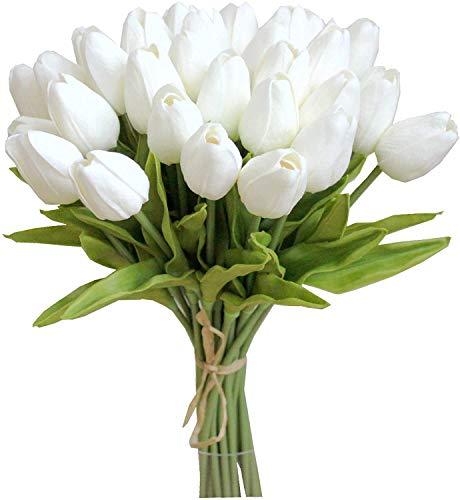 Tifuly 24 Piezas de Tulipanes Artificiales de látex, Ramos de Flores Falsos de Tulipanes...