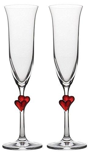 Copas para vino espumoso L´Amour de Stölzle Lausitz con corazones rojos, de 175 ml,...