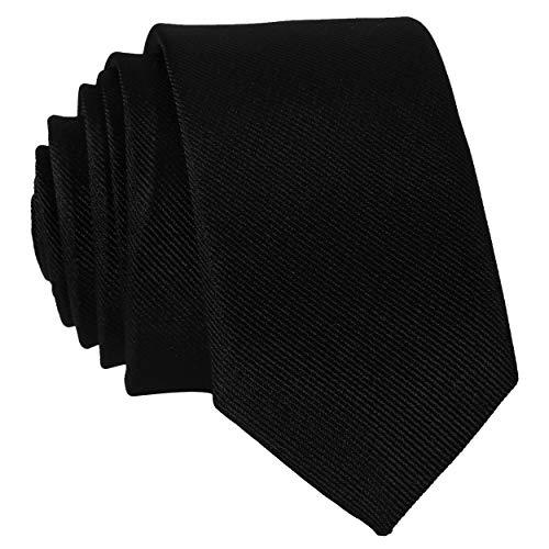 DonDon Corbata estrecha 5 cm de color negro - hecho a mano