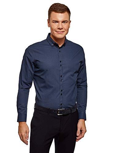 oodji Ultra Hombre Camisa Entallada con Cuello Doble, Azul, 43