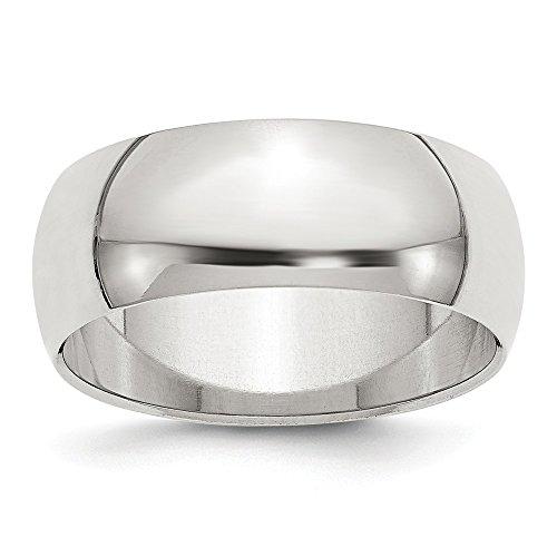 DIAMOND2DEAL INC Alianza de Boda semicircular de Plata de Ley 925 Maciza de 8 mm