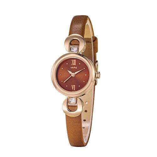 Relojes Mujer Pequeño Marrón Reloj Números Romanos Elegante Relojes Pulsera Delgada...