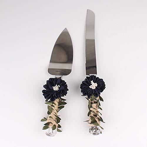 XINSIHUI - Cuchillo para tarta de cumpleaños, diseño de pala para dalia y hojas verdes...