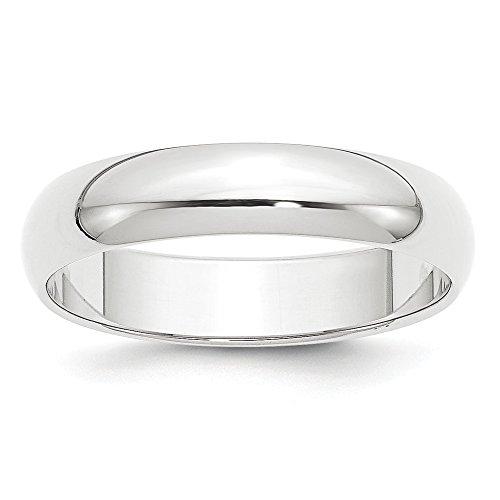 Alianza de boda de peso pluma de platino de 5 mm, tamaño 5 para mujer