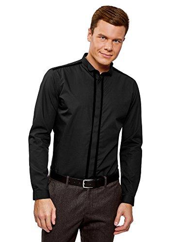 oodji Ultra Hombre Camisa con Cuello Mao y Detalles Decorativos, Negro, 37