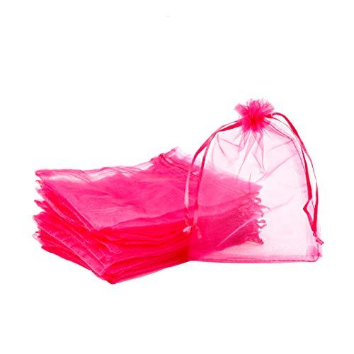 PandaHall - Lote de 100 bolsas de regalo de organza mediana, color morado y rojo, 13 x 18...