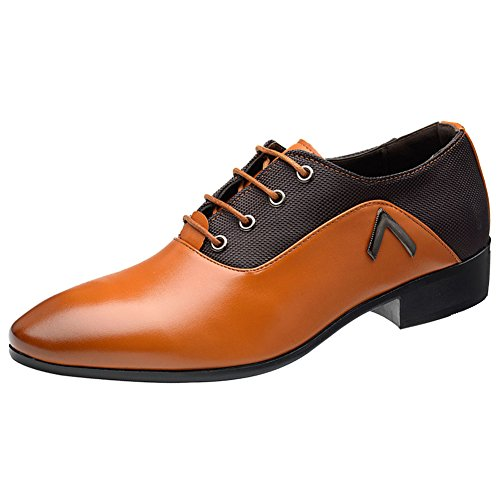 Wealsex Zapatos Oxford Hombre Boda Negocios Calzado Vestir Cordones Derby Zapatos de Cuero...