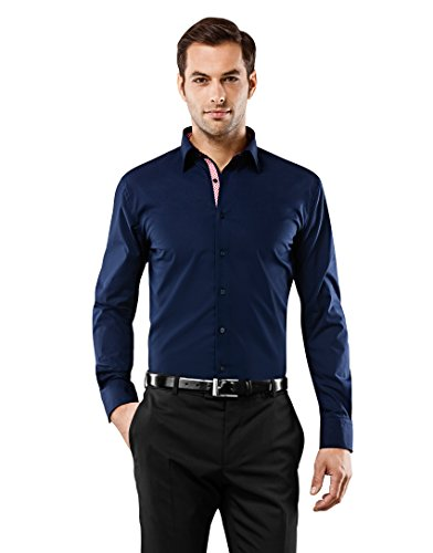 Vincenzo Boretti Camisa de Hombre, Ajustada Entallada (Slim-fit), 100% algodón,...